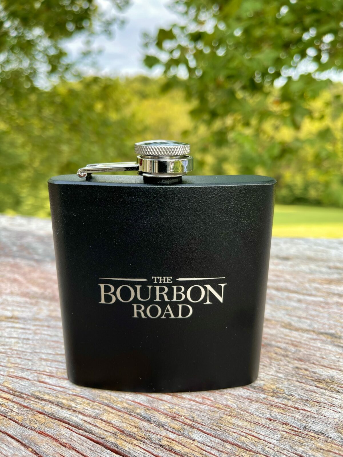 Bourbon Road Six Ounce Black Flask with Logo